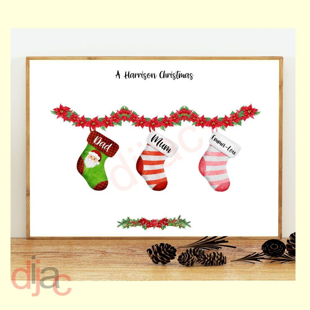 <!-- 001 -->3 CHARACTER CHRISTMAS STOCKING (D1) FAMILY PRINT