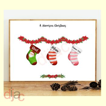 3 CHARACTER CHRISTMAS STOCKING (D1) FAMILY PRINT