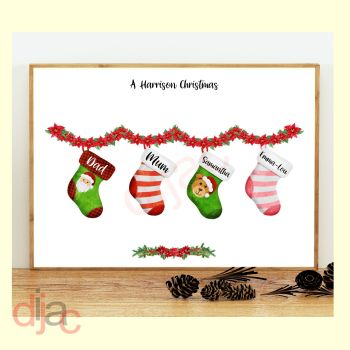 4 CHARACTER CHRISTMAS STOCKING (D1) FAMILY PRINT