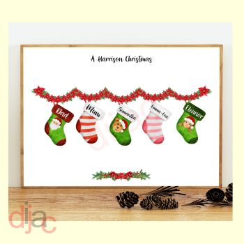5 CHARACTER CHRISTMAS STOCKING (D1) FAMILY PRINT