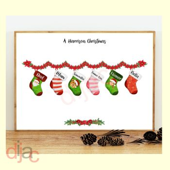 6 CHARACTER CHRISTMAS STOCKING (D1) FAMILY PRINT