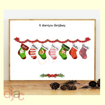 7 CHARACTER CHRISTMAS STOCKING (D1) FAMILY PRINT