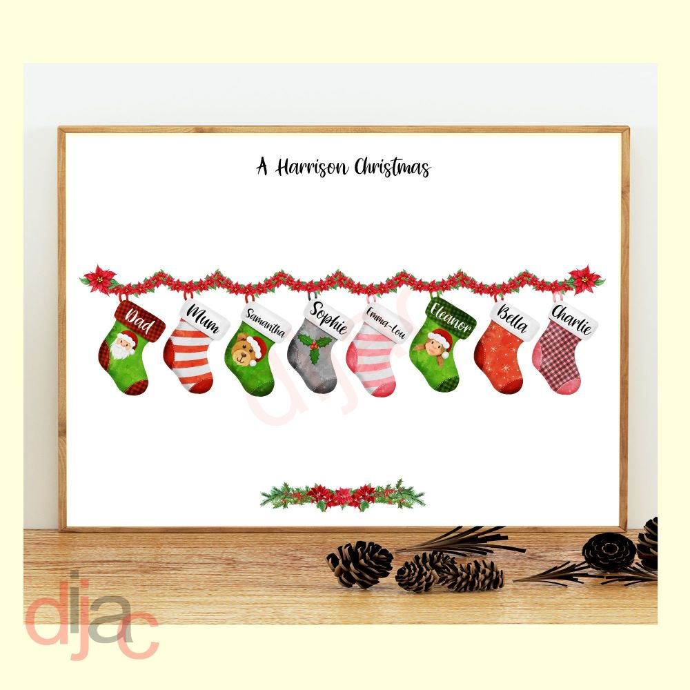 8 CHARACTER CHRISTMAS STOCKING (D1) FAMILY PRINT