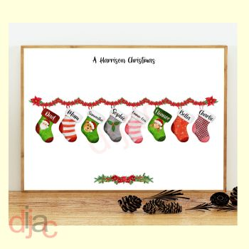 8 CHARACTER CHRISTMAS STOCKING (D1) FAMILY PRINT