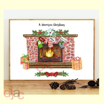 3 CHARACTER CHRISTMAS FIREPLACE (D1) FAMILY PRINT