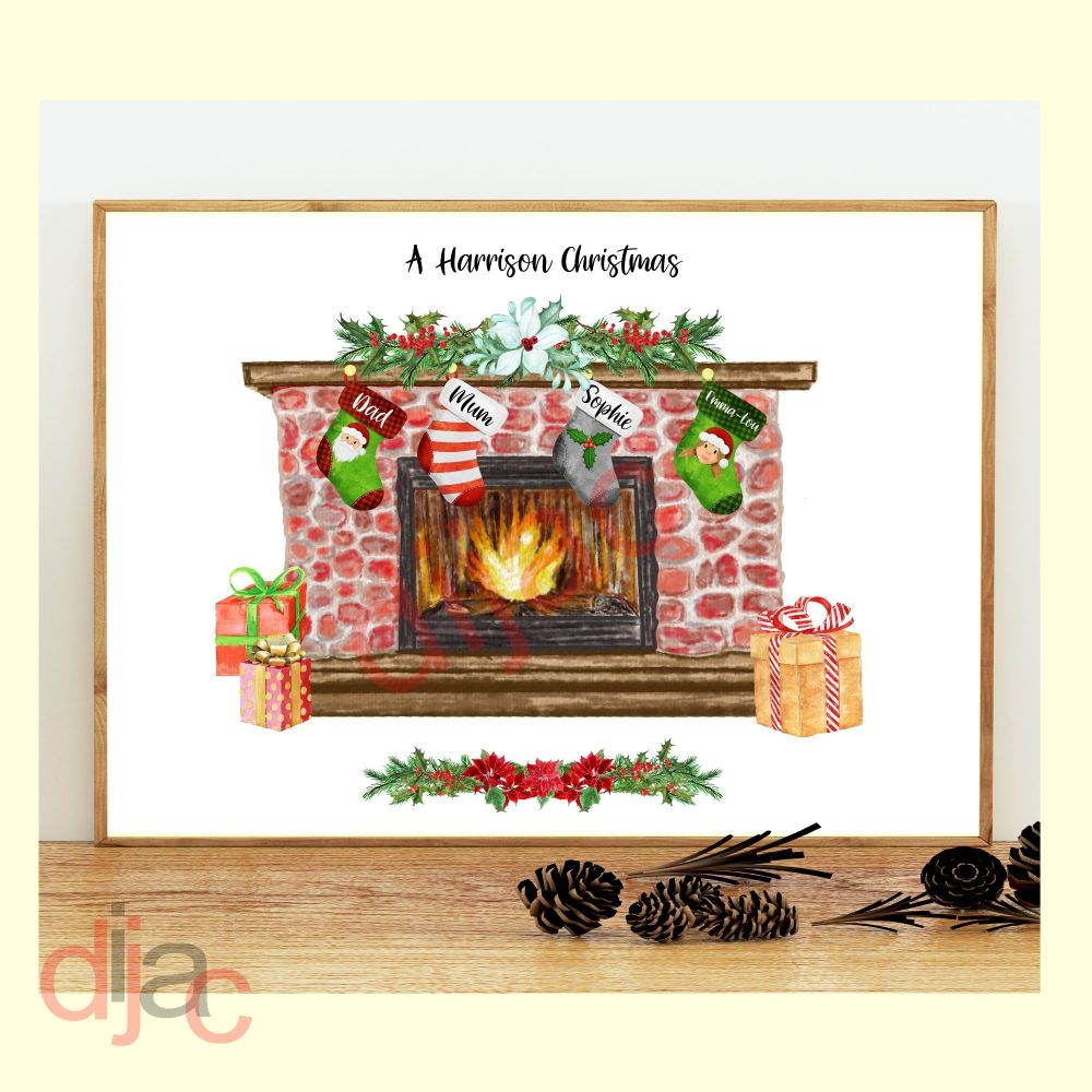 <!-- 002 -->4 CHARACTER CHRISTMAS FIREPLACE (D1) FAMILY PRINT