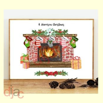 5 CHARACTER CHRISTMAS FIREPLACE (D1) FAMILY PRINT