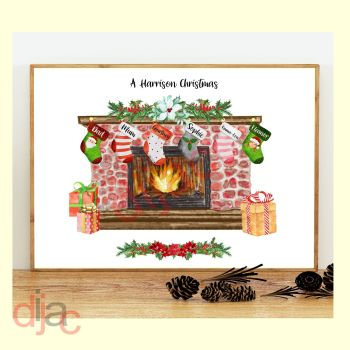 6 CHARACTER CHRISTMAS FIREPLACE (D1) FAMILY PRINT