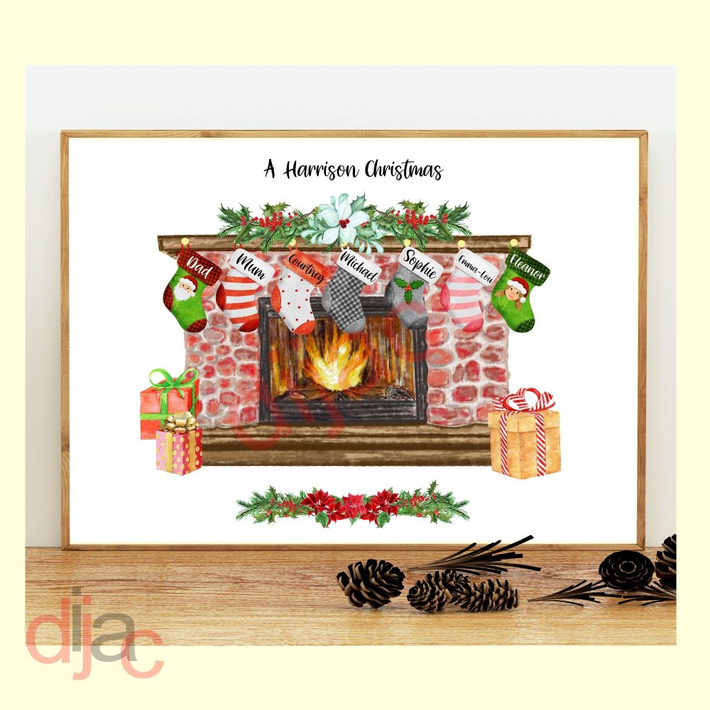 7 CHARACTER CHRISTMAS FIREPLACE (D1) FAMILY PRINT