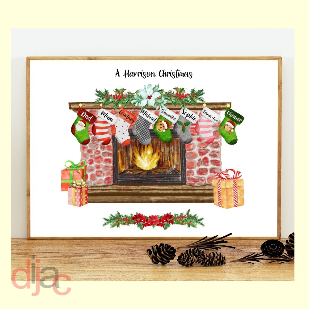 8 CHARACTER CHRISTMAS FIREPLACE (D1) FAMILY PRINT