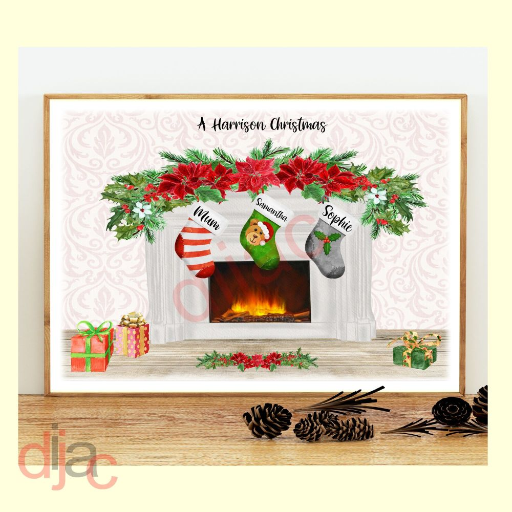 <!-- 001 -->3 CHARACTER CHRISTMAS FIREPLACE (D2) FAMILY PRINT