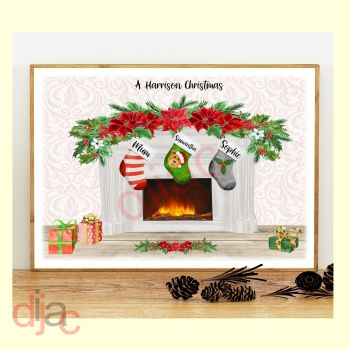 3 CHARACTER CHRISTMAS FIREPLACE (D2) FAMILY PRINT
