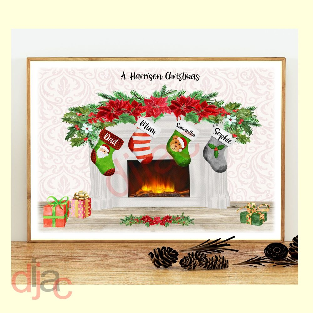 <!-- 002 -->4 CHARACTER CHRISTMAS FIREPLACE (D2) FAMILY PRINT