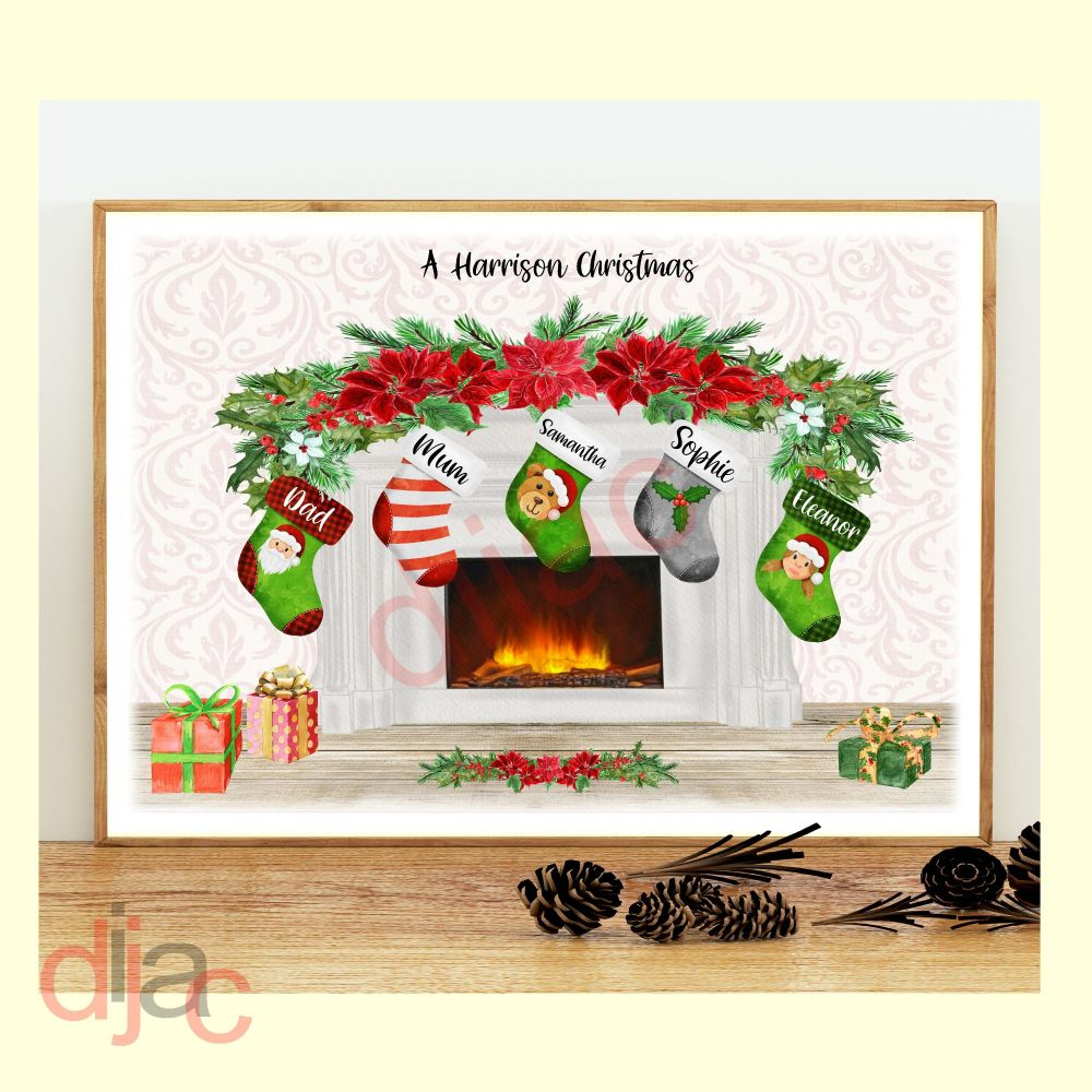 <!-- 003 -->5 CHARACTER CHRISTMAS FIREPLACE (D2) FAMILY PRINT