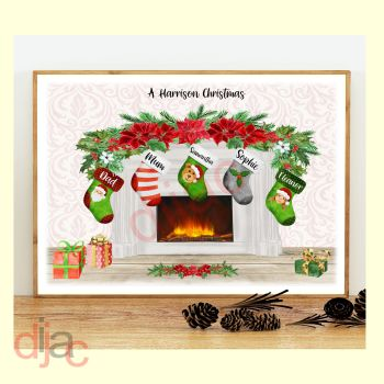 5 CHARACTER CHRISTMAS FIREPLACE (D2) FAMILY PRINT