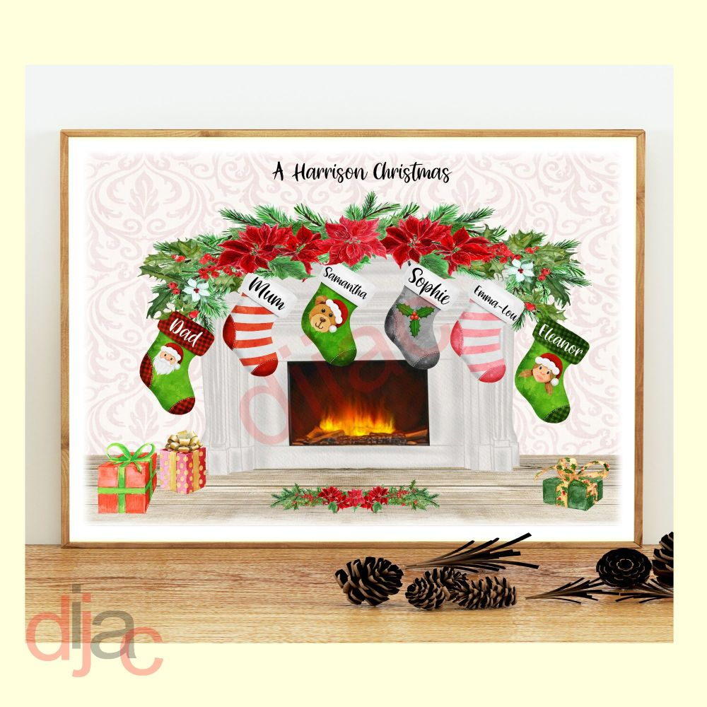 6 CHARACTER CHRISTMAS FIREPLACE (D2) FAMILY PRINT