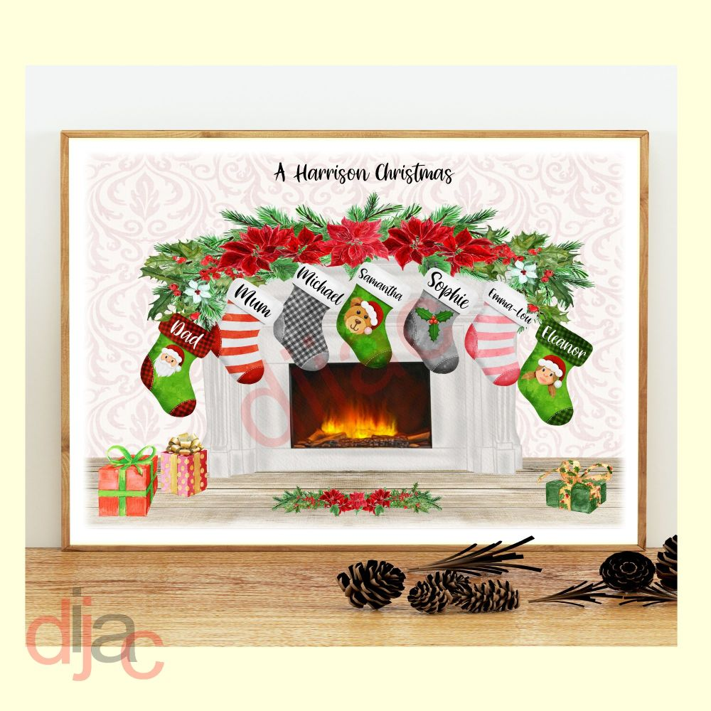 <!-- 005 -->7 CHARACTER CHRISTMAS FIREPLACE (D2) FAMILY PRINT