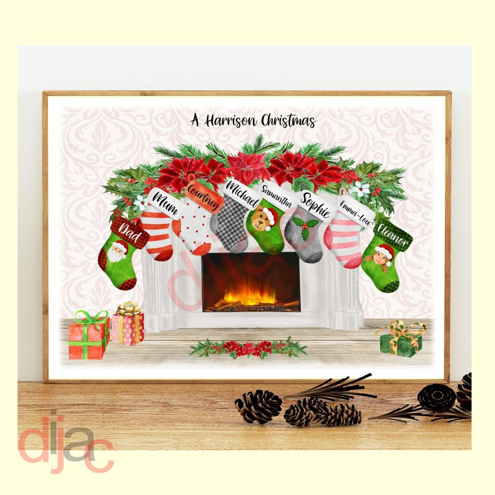 <!-- 006 -->8 CHARACTER CHRISTMAS FIREPLACE (D2) FAMILY PRINT