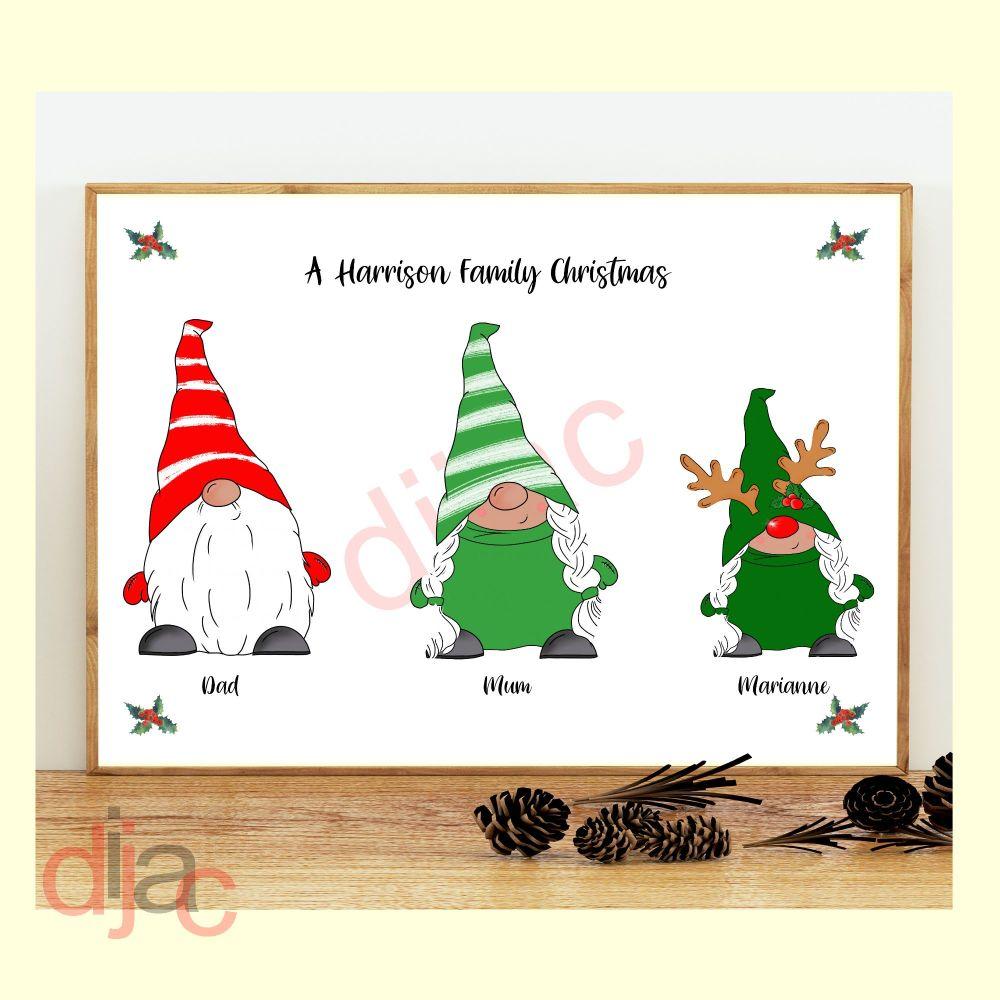 <!-- 001 -->3 CHARACTER CHRISTMAS GNOMES (D1) FAMILY PRINT