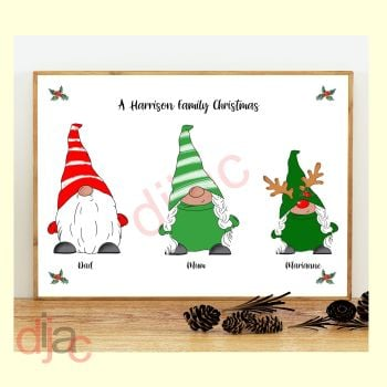 3 CHARACTER CHRISTMAS GNOMES (D1) FAMILY PRINT