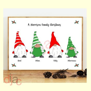 4 CHARACTER CHRISTMAS GNOMES (D1) FAMILY PRINT