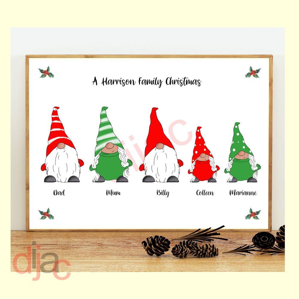 5 CHARACTER CHRISTMAS GNOMES (D1) FAMILY PRINT