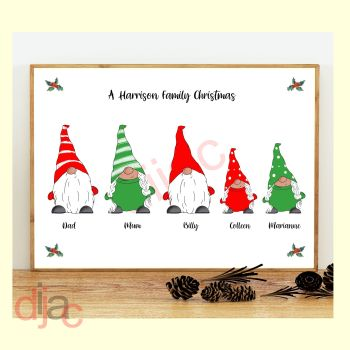 5 CHARACTER CHRISTMAS GNOMES (D1) FAMILY PRINT