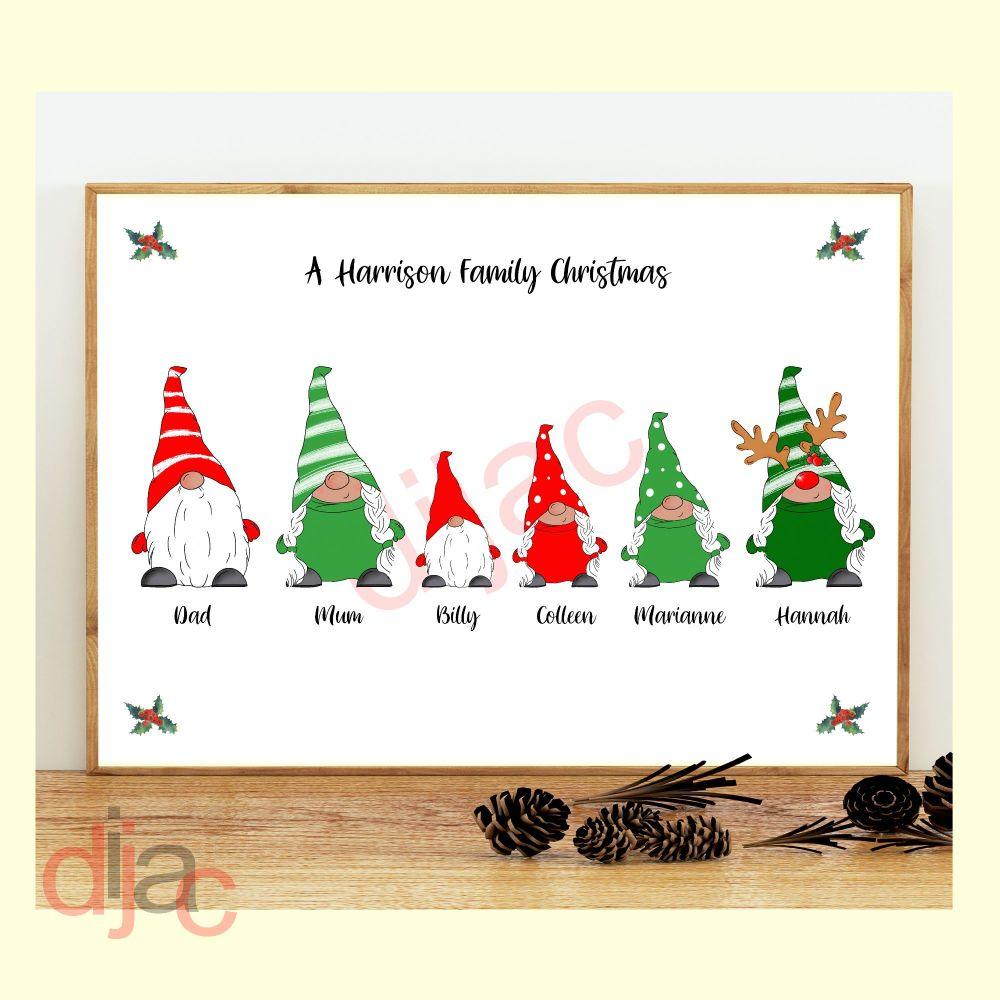 6 CHARACTER CHRISTMAS GNOMES (D1) FAMILY PRINT