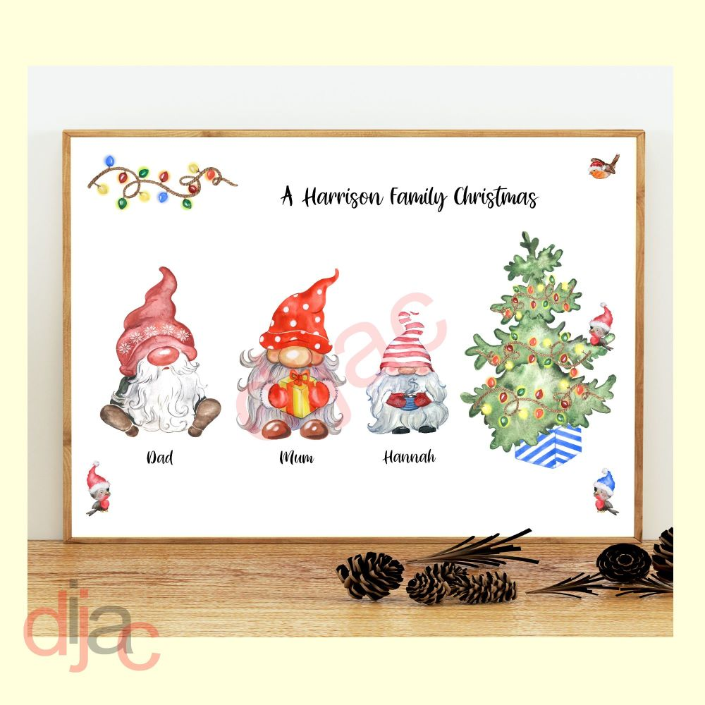 <!-- 001 -->3 CHARACTER CHRISTMAS GNOMES (D2) FAMILY PRINT