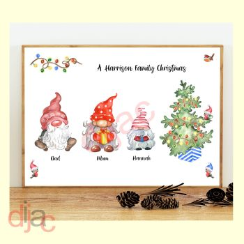 3 CHARACTER CHRISTMAS GNOMES (D2) FAMILY PRINT