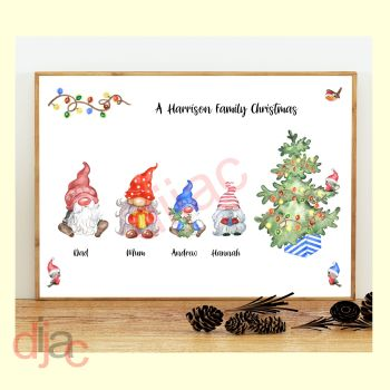 4 CHARACTER CHRISTMAS GNOMES (D2) FAMILY PRINT