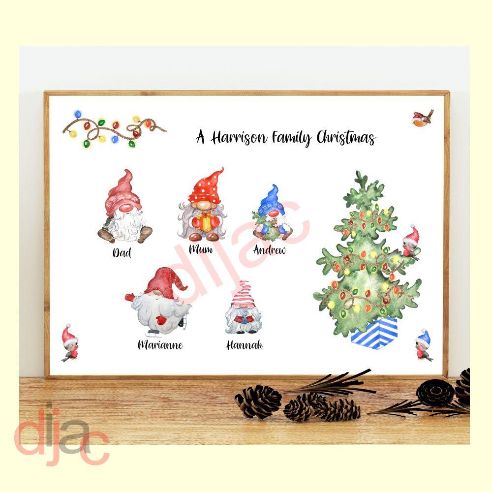 5 CHARACTER CHRISTMAS GNOMES (D2) FAMILY PRINT