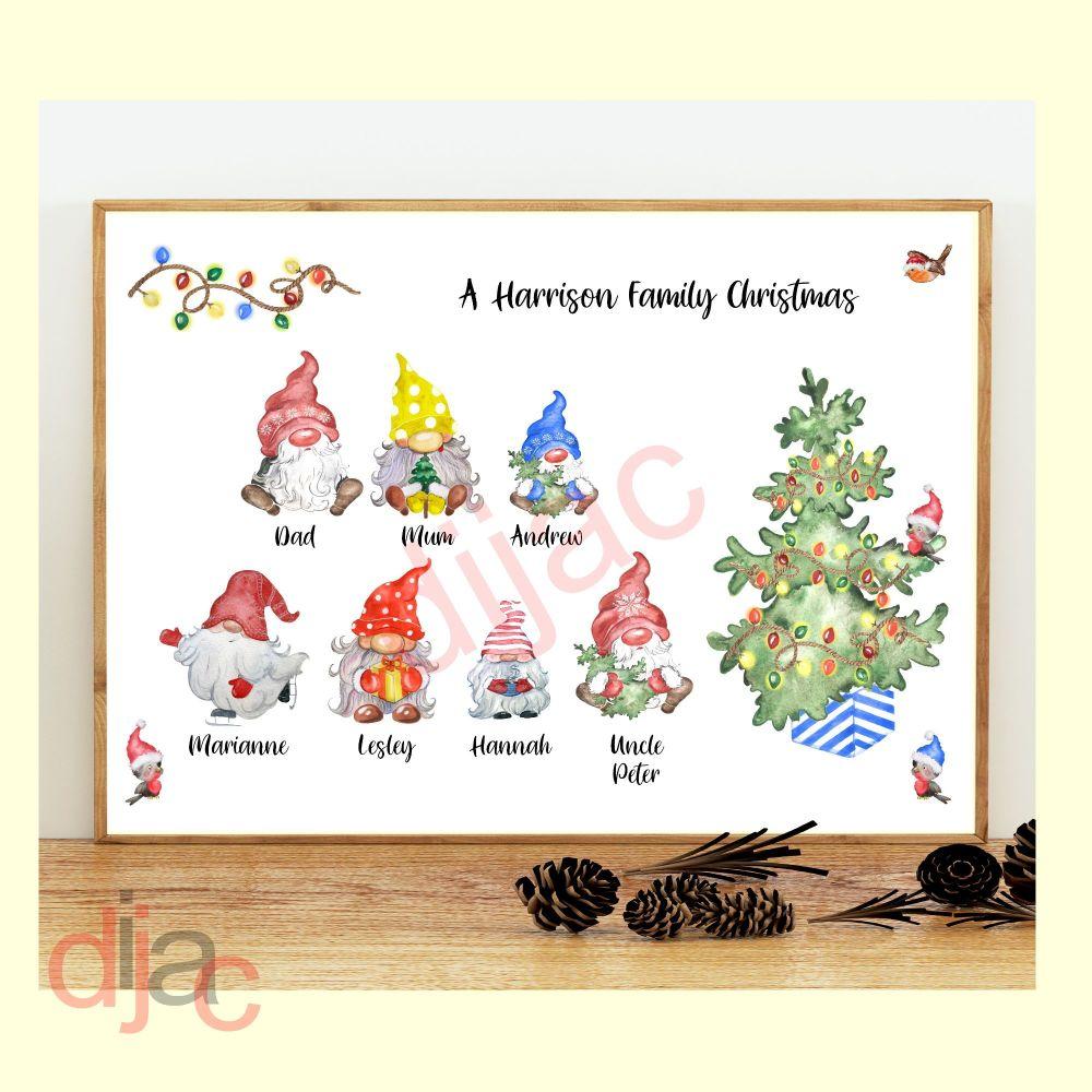 7 CHARACTER CHRISTMAS GNOMES (D2) FAMILY PRINT