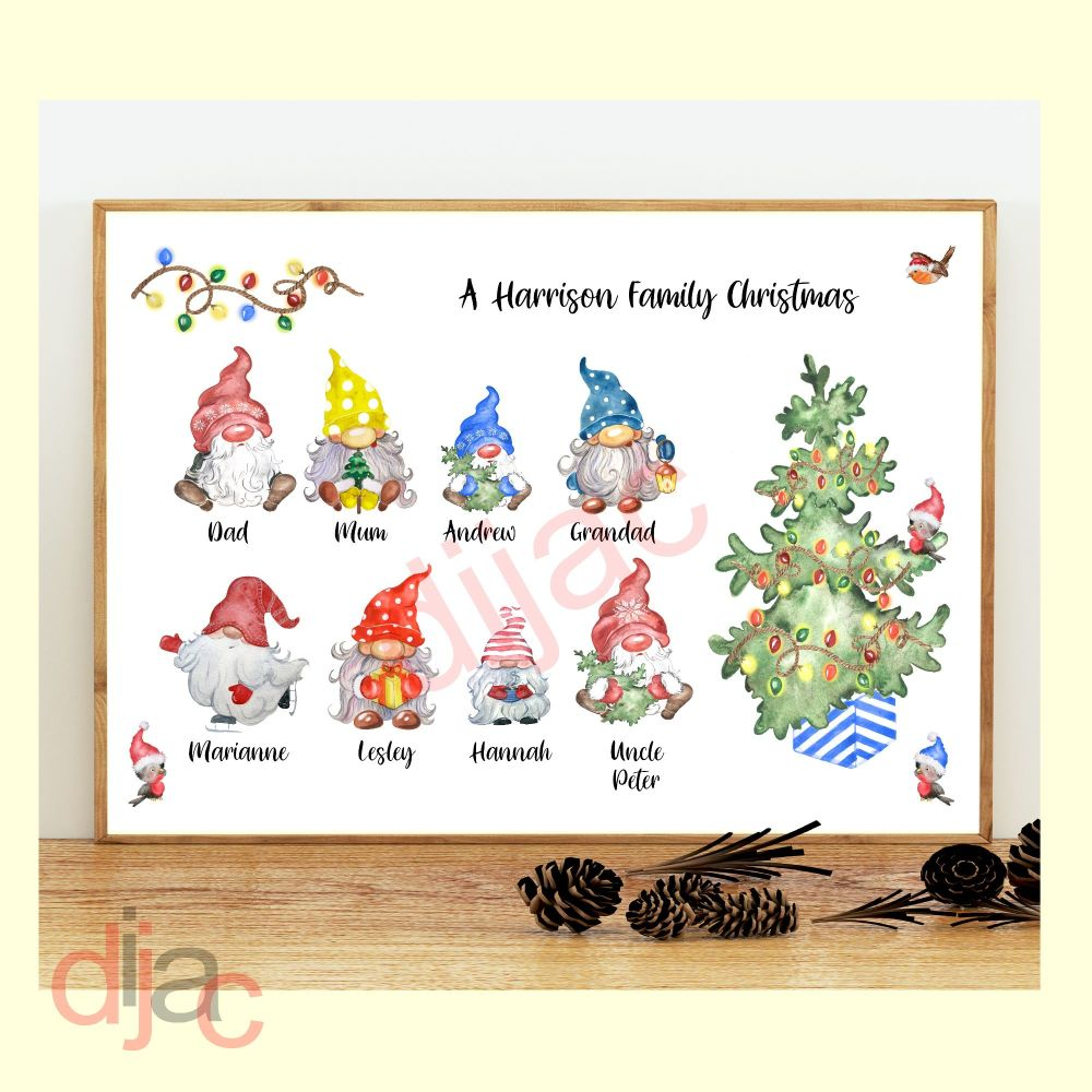 <!-- 006 -->8 CHARACTER CHRISTMAS GNOMES (D2) FAMILY PRINT