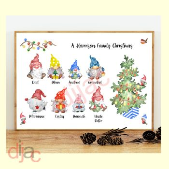 8 CHARACTER CHRISTMAS GNOMES (D2) FAMILY PRINT