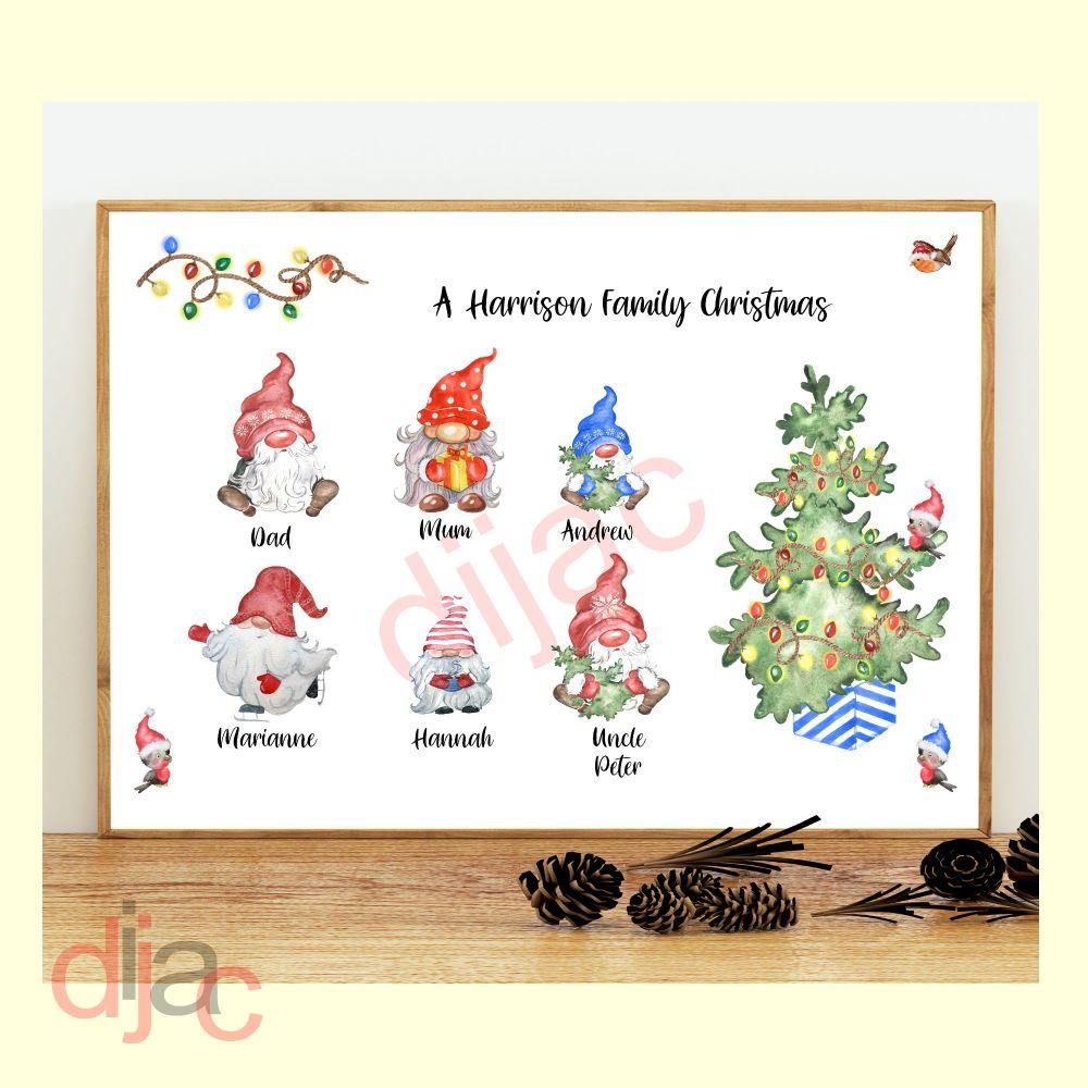6 CHARACTER CHRISTMAS GNOMES (D2) FAMILY PRINT