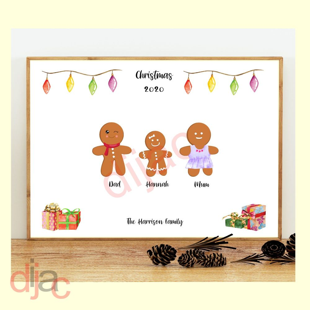 <!-- 001 -->3 CHARACTER GINGERBREAD FAMILY PRINT