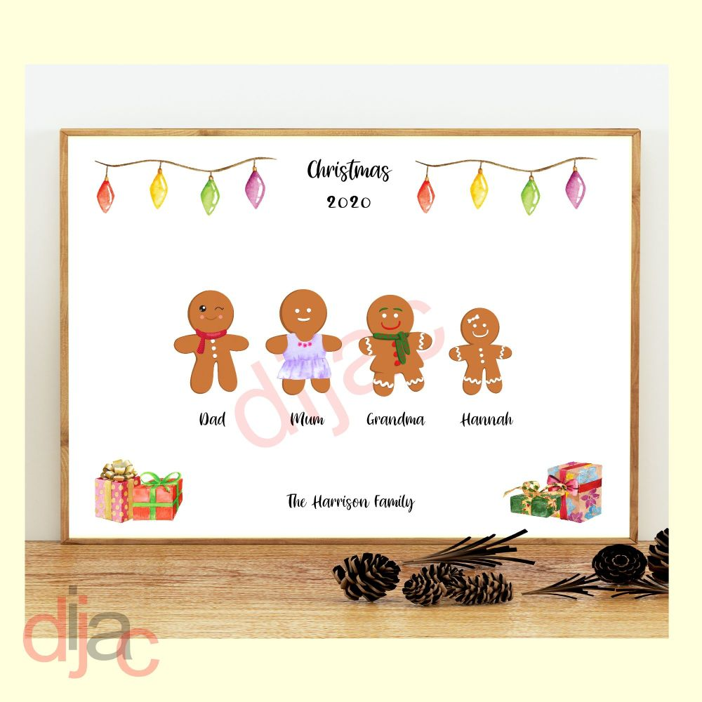 <!-- 002 -->4 CHARACTER GINGERBREAD FAMILY PRINT