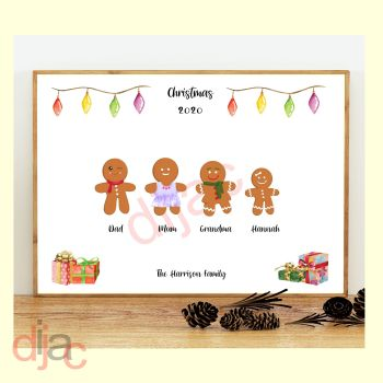 4 CHARACTER GINGERBREAD FAMILY PRINT
