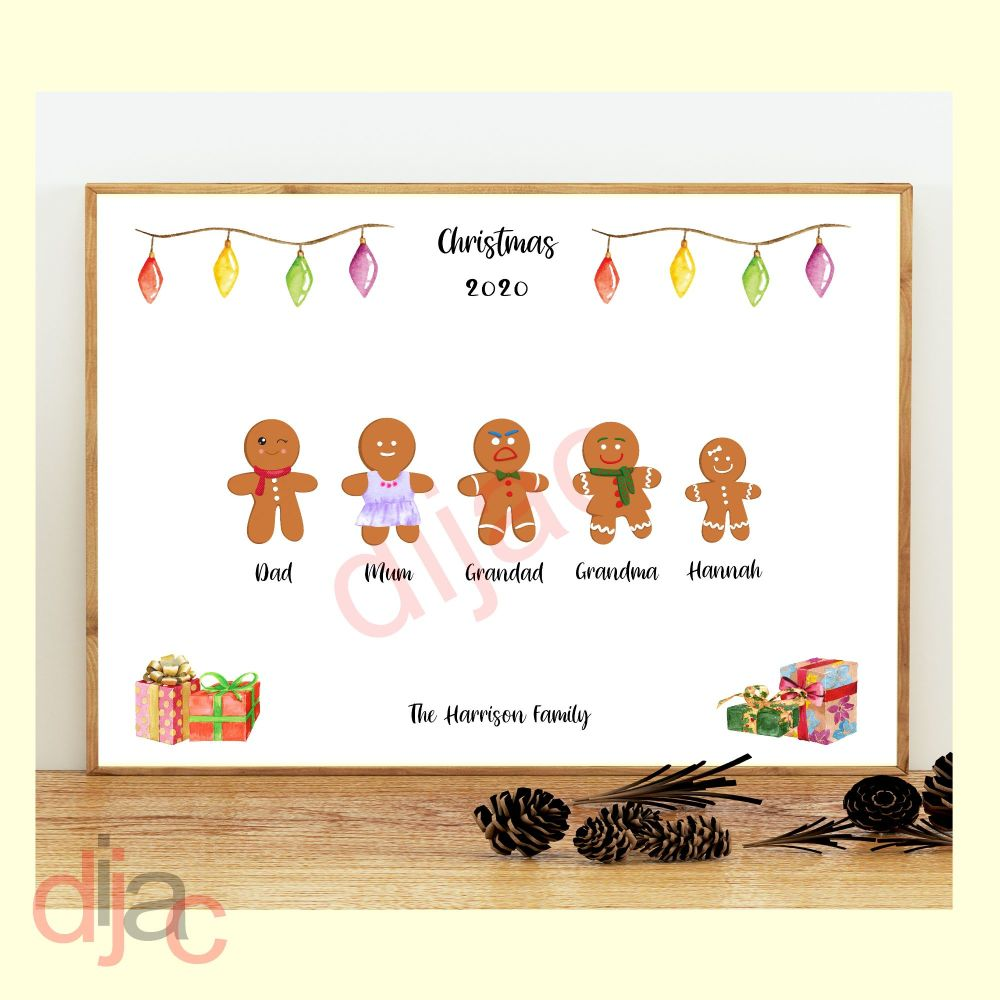 <!-- 003 -->5 CHARACTER GINGERBREAD FAMILY PRINT