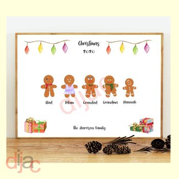 5 CHARACTER GINGERBREAD FAMILY PRINT