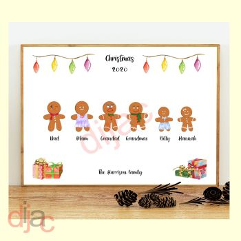 6 CHARACTER GINGERBREAD FAMILY PRINT
