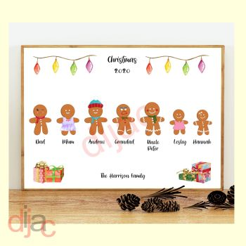7 CHARACTER GINGERBREAD FAMILY PRINT
