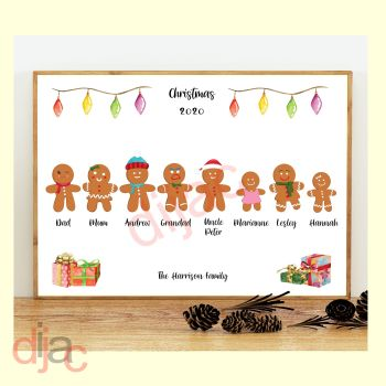 8 CHARACTER GINGERBREAD FAMILY PRINT