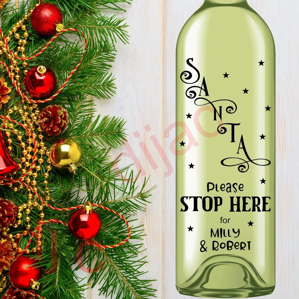 SANTA STOP HERE (D1)<br>Personalised<br>8 x 17.5 cm decal
