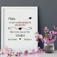 MUM YOU ARE THE WORLD<br>PERSONALISED<br>15 x 15 cm