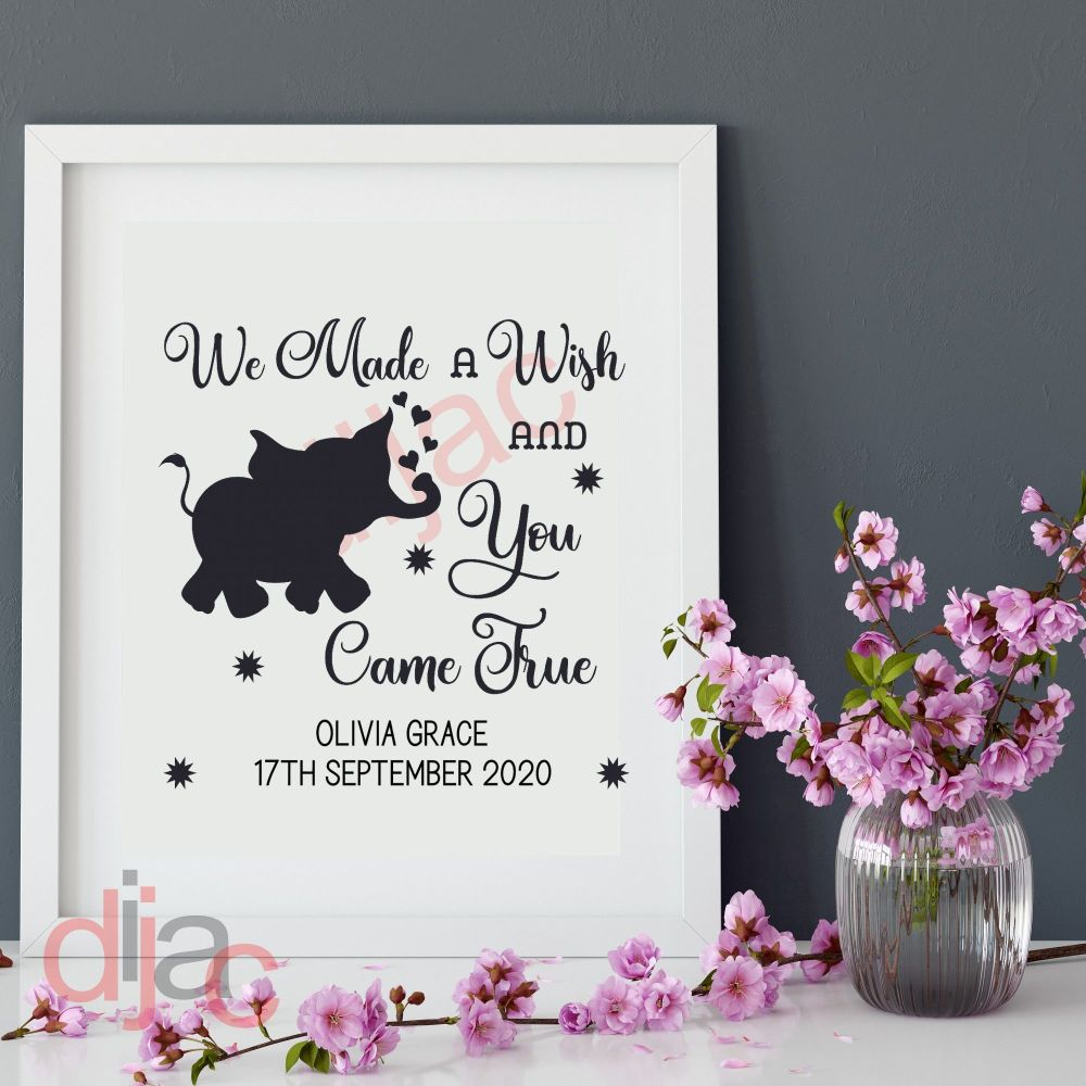 WE MADE A WISH UPON A STAR<br>PERSONALISED<br>15 x 15 cm