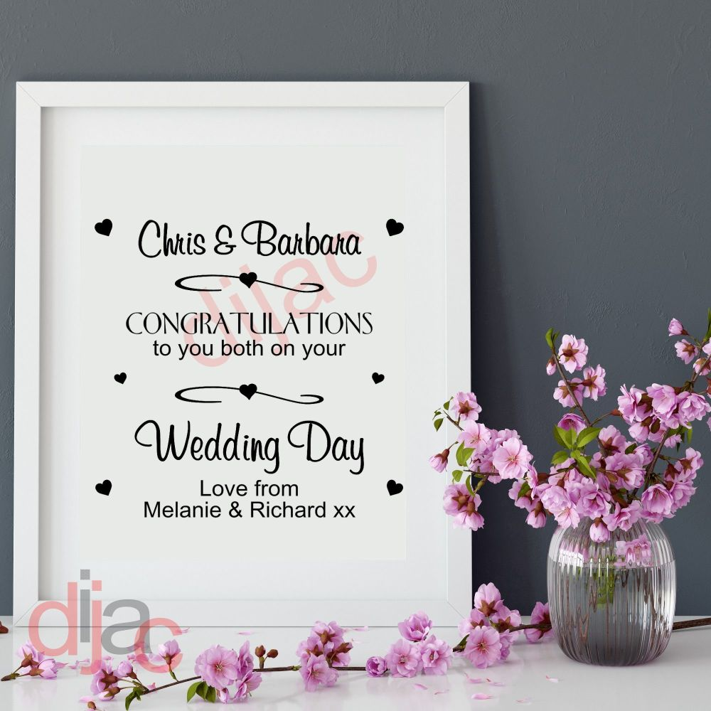 CONGRATULATIONS ON YOUR WEDDING DAY<br>PERSONALISED<br>15 x 15 cm