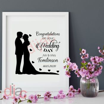 CONGRATULATIONS ON YOUR WEDDING DAY (D2)PERSONALISED15 x 15 cm