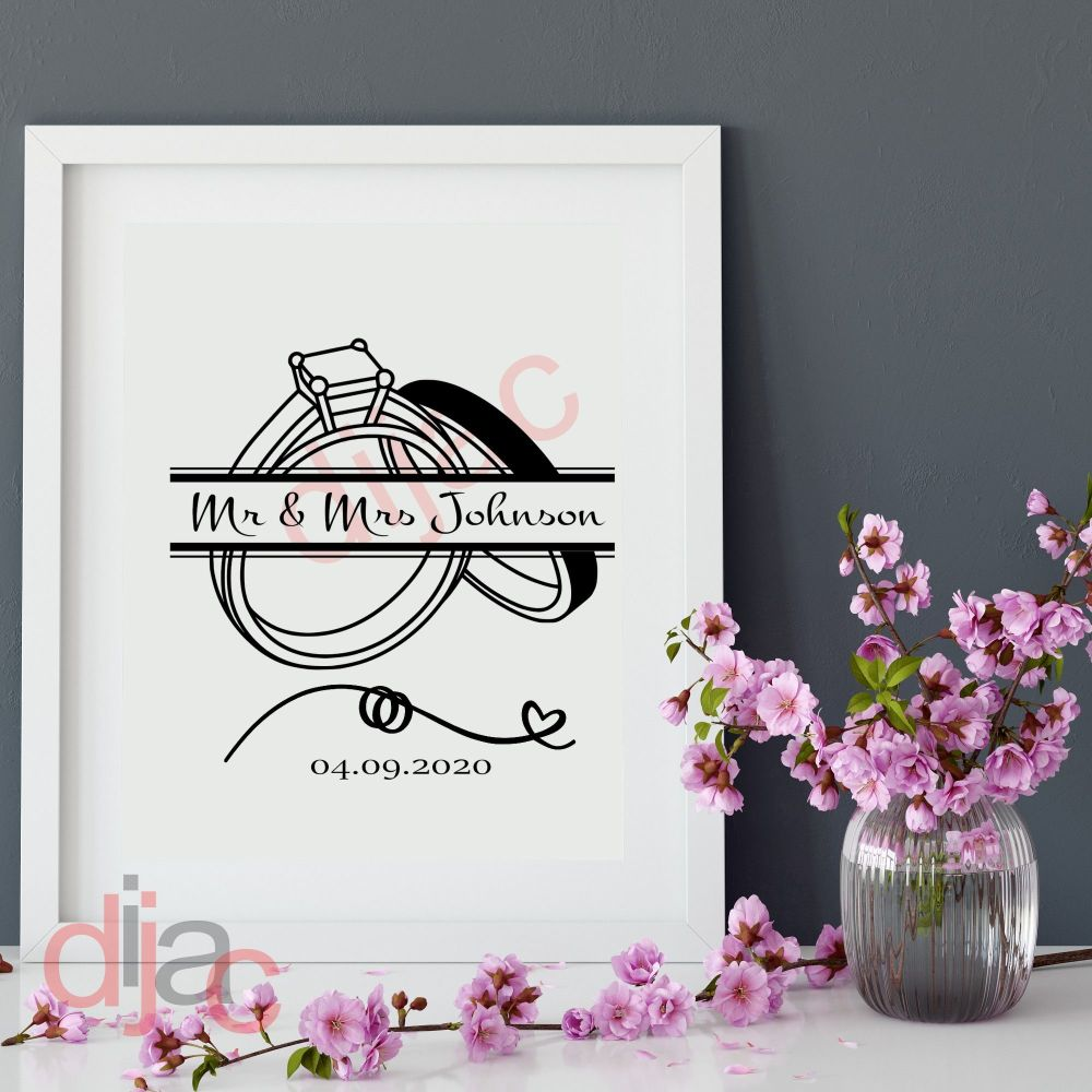 WEDDING DAY DECAL (D1)<br>PERSONALISED<br>13 x 17 cm